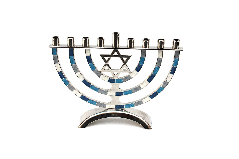 Quality Judaica Aluminum Hanukkah Menorah with Star, Blue