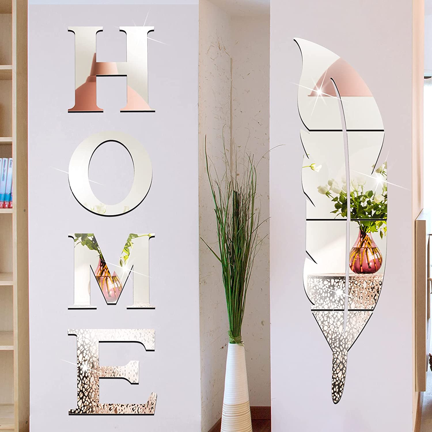 10 Pieces Home Letter Mirror Stickers Acrylic Mirror Wall Stickers Home Logo Letters Warm Decoration Removable Feather 3D Self-Adhesive Wall Stickers for Living Room Bedroom Kitchen Wall Doors Windows