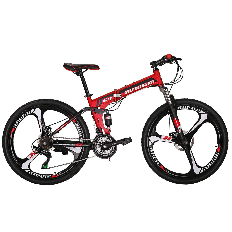 "Eurobike OBk G4 Folding Mountain Bike 21 Speed Bicycle Full Suspension MTB Foldable Frame 26/"" 3 Spoke Wheels"