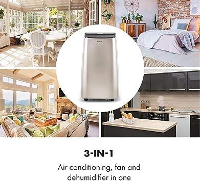 KLARSTEIN Metrobreeze 9 Paris A+ - Equipo de Aire Acondicionado portátil, 3 en 1 Aire Acondicionado, humidificador, Ventilador, Potencia de 9000 BTU/2,6 kW, 880 W, Clase A+, caudal: 320 m³/h, Bronce: Amazon.es: Hogar