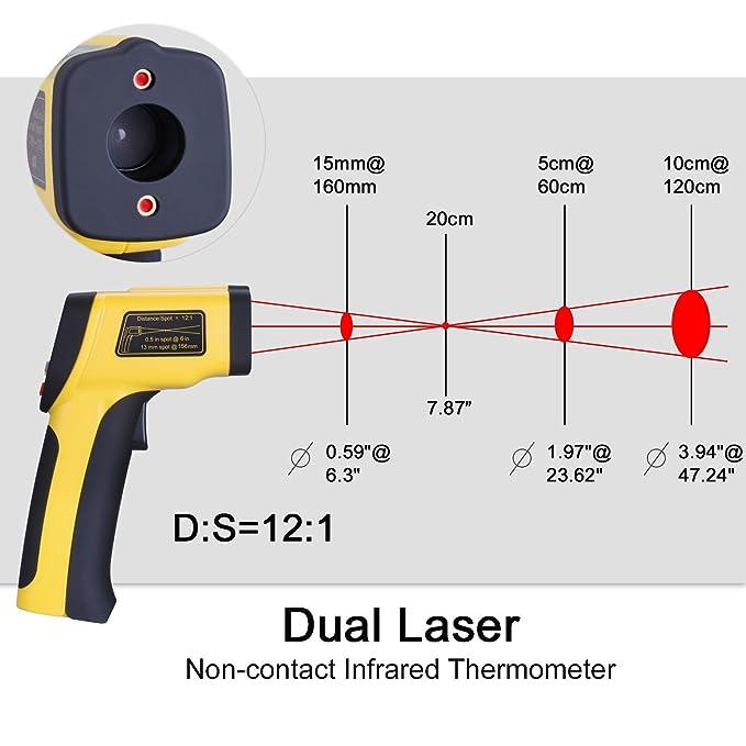 tensun Dual Digital láser Temperatura Pistola Sin contacto ...