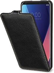 StilGut UltraSlim Case, Custodia Flip Case per LG V30 e LG V35 ThinQ Cover Verticale in Vera Pelle, Nero