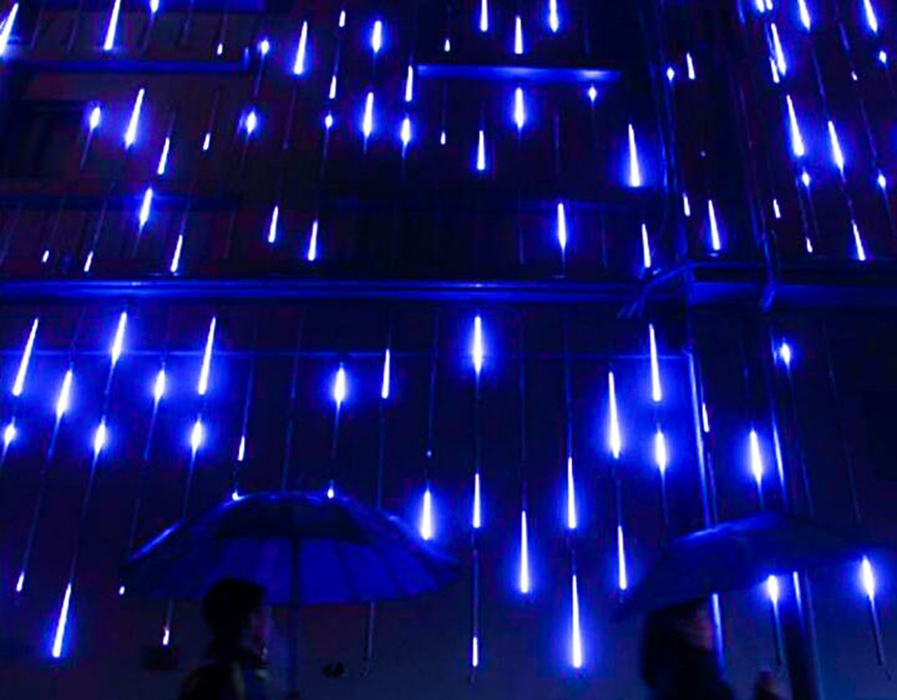 Adecorty Meteor Shower Lights Falling Rain 30cm Outdoor Christmas Light Wiring 8 Tube 144 Leds Drop Icicle String For Holiday
