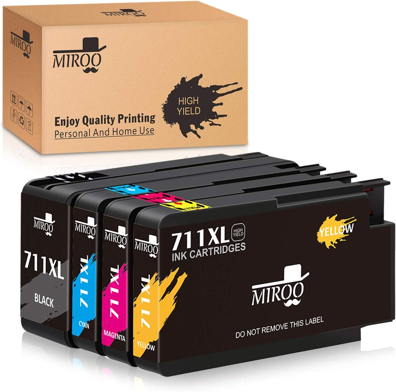 MIROO Compatible Ink Cartridge Replacement for HP 711 711XL ink Cartridge(4-Pack),Worked with HP Designjet T120 T520 Printer