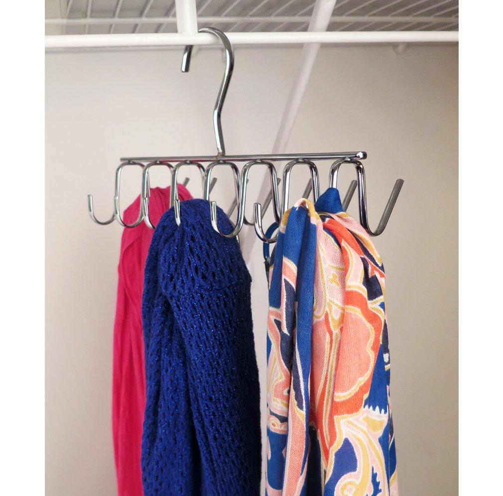 Evelots Tie Scarf,jewelry Rack-Hanger-Closet Organizer-Chrome-14 Hooks FBA/_3324 Belt
