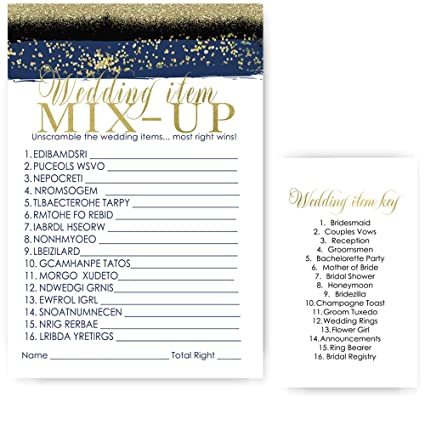 Navy and Gold Bridal Shower Word Scramble Games Set of 25 Wedding Activity  Cards for Guest
