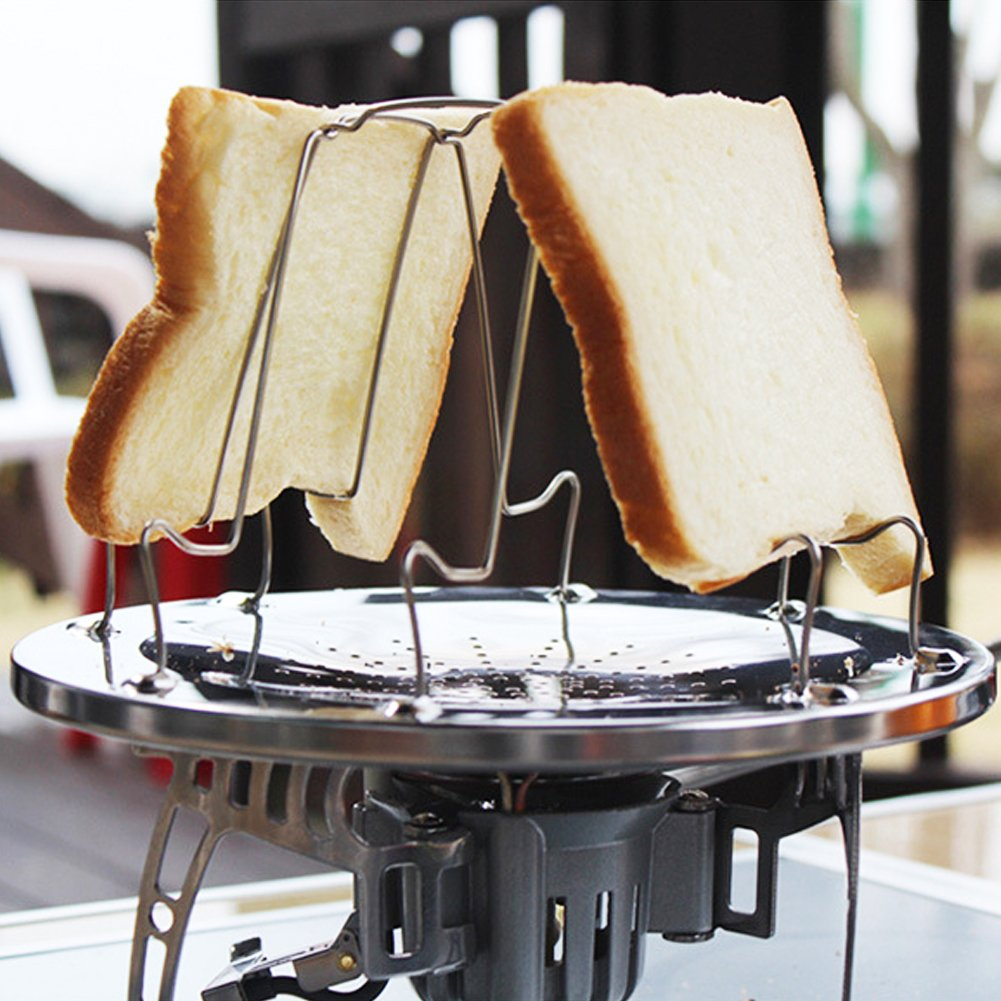 Folding Camp Stove Toaster, Stainless Steel Camping Toaster Rack Holder 4 Slice Toaster Tray Cooking Breakfast for BBQ Party Outdoor Hiking Camping Fishing Picnic