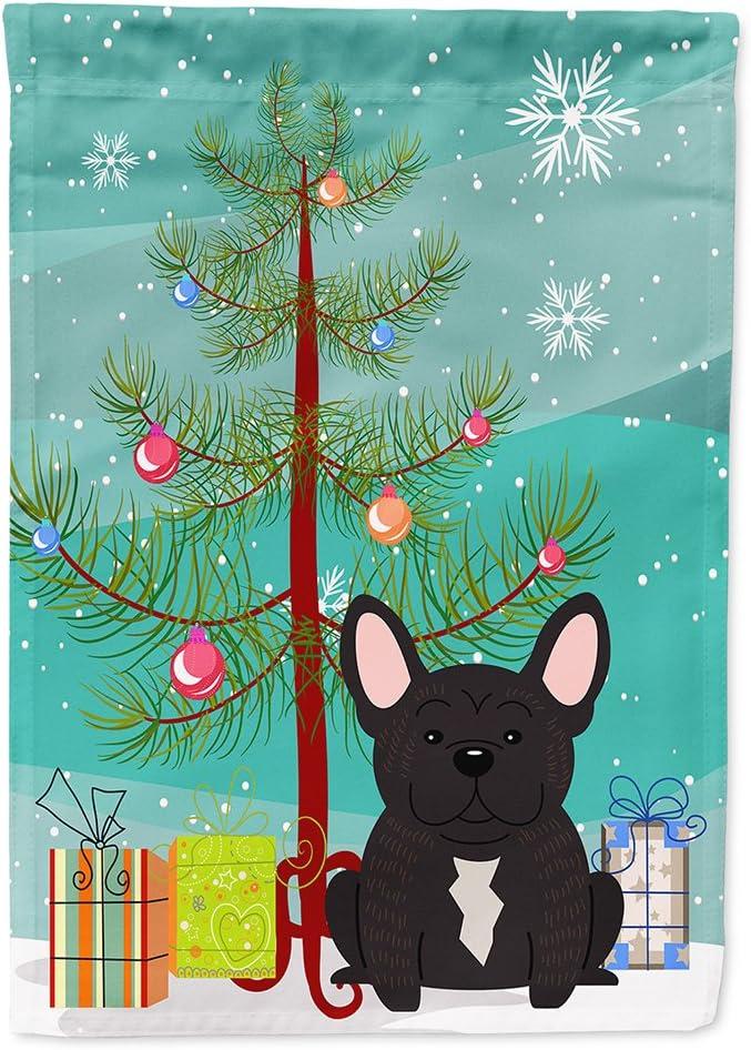Caroline's Treasures BB4134GF Merry Christmas Tree French Bulldog Brindle Flag Garden Size, Small, Multicolor