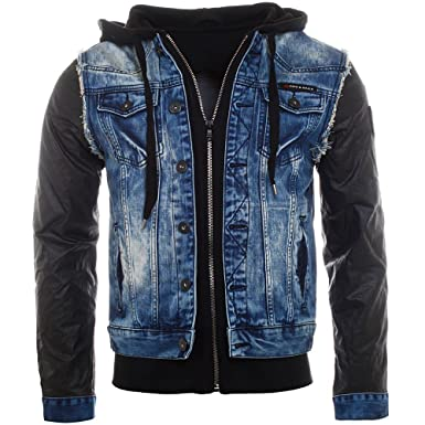768bf5560606 Cipo   Baxx 2in1 Herren Jeansjacke 1290 blau schwarz double layer optik  vintage used destroyed look