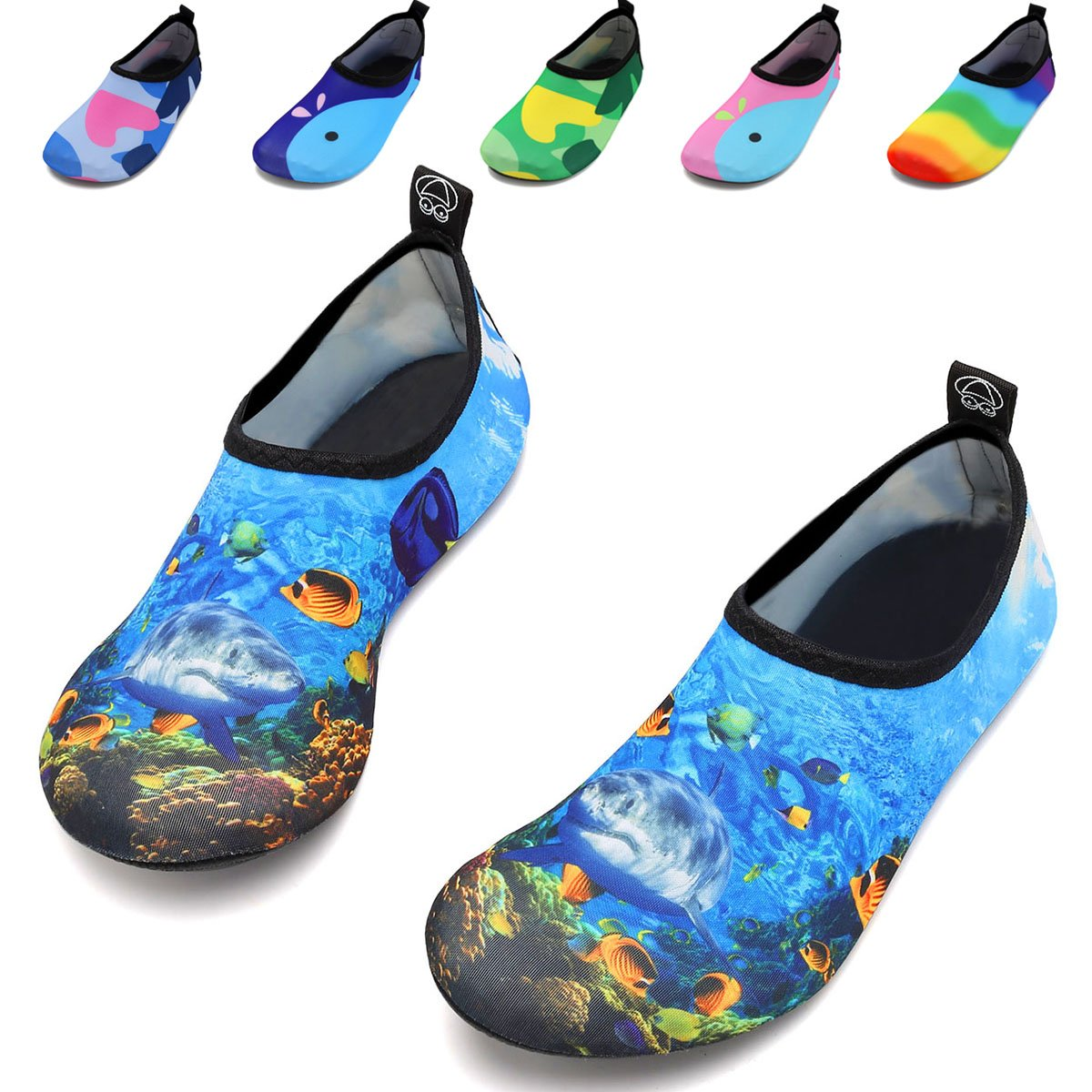 VIFUUR Kids Girls Boys Water Shoes Lightweight Barefoot Quick-Dry Aqua Yoga Socks for Beach Swimming KDeepSea 22/23 by VIFUUR (Image #1)