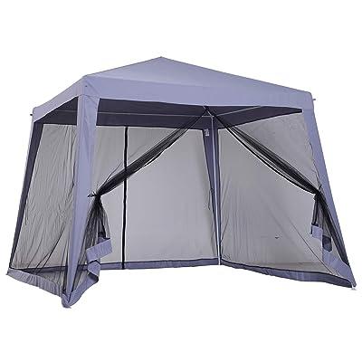 Gazebo Canopy Outdoor Slant Leg Patio Garden Sunshade Tent Mesh Curtain, Grey with Ebook : Garden & Outdoor