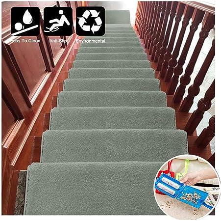 Alfombrillas rectangulares para escaleras Protectores Antideslizante Rugs PVC Autoadhesivo Alfombrilla Parte Trasera de Goma Lavable para escaleras Decoración del hogar(75x24cm),Verde,Setof15: Amazon.es: Hogar