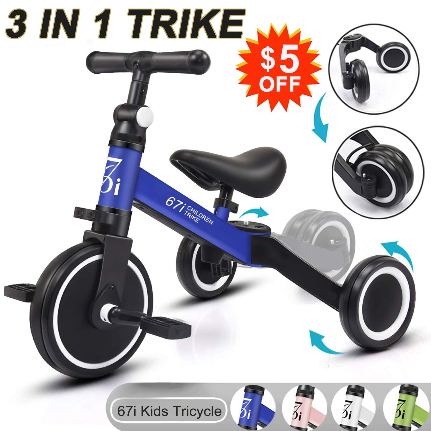 67i Tricycles for 2 Year Olds Toddler Tricycle Kids Trikes Kids Tricycles 3 in 1 for Kids Boys Girls Ages 1-3 Years Old (Blue)