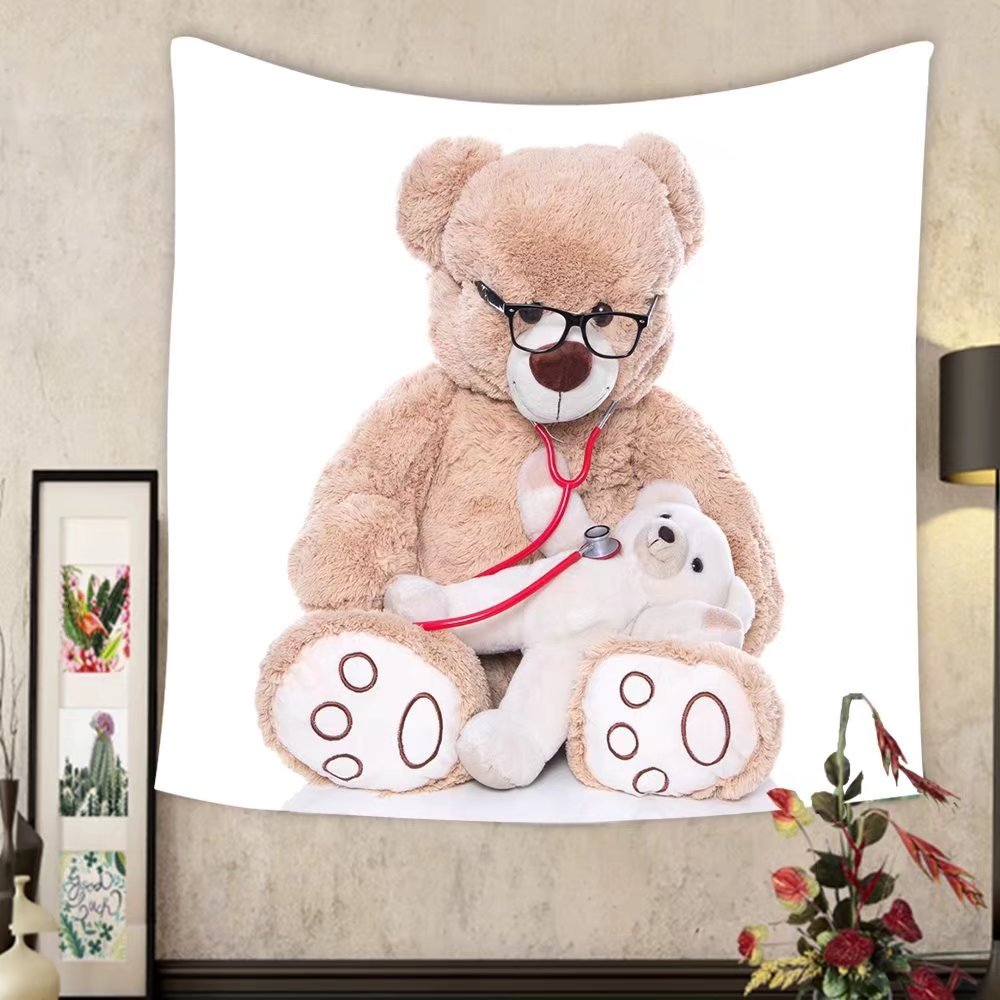 Grace Little Custom tapestry teddy bear doing health check with stethoscope isolated on white background doctor and a teddy
