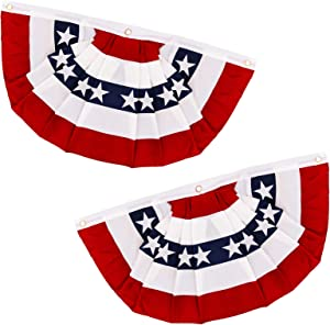 AMENON American US Flag Bunting Banner July 4th Decorations, 1.5 x 3 Ft Stars & Stripes US Pleated Fan Flag Patriotic Decorations for Indoor Outdoor Porch Window Garden Red White and Blue Decor