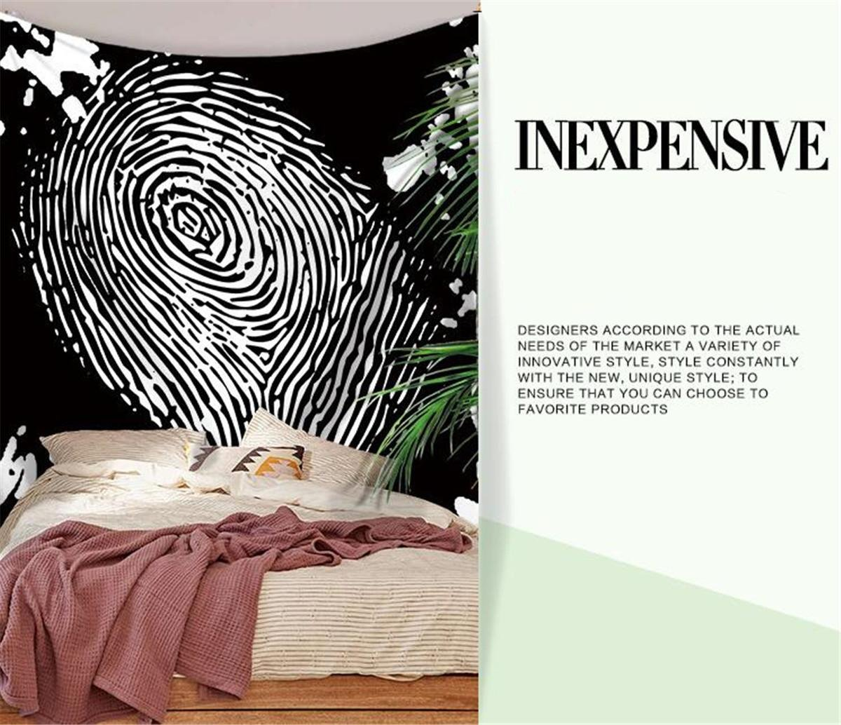 Creative Tapestry, Striped Abstract Fingerprint Print Pattern Tapestry, Wall Decoration, Outdoor Beach Towe , A , 200150 by LLVV Tapestry (Image #6)