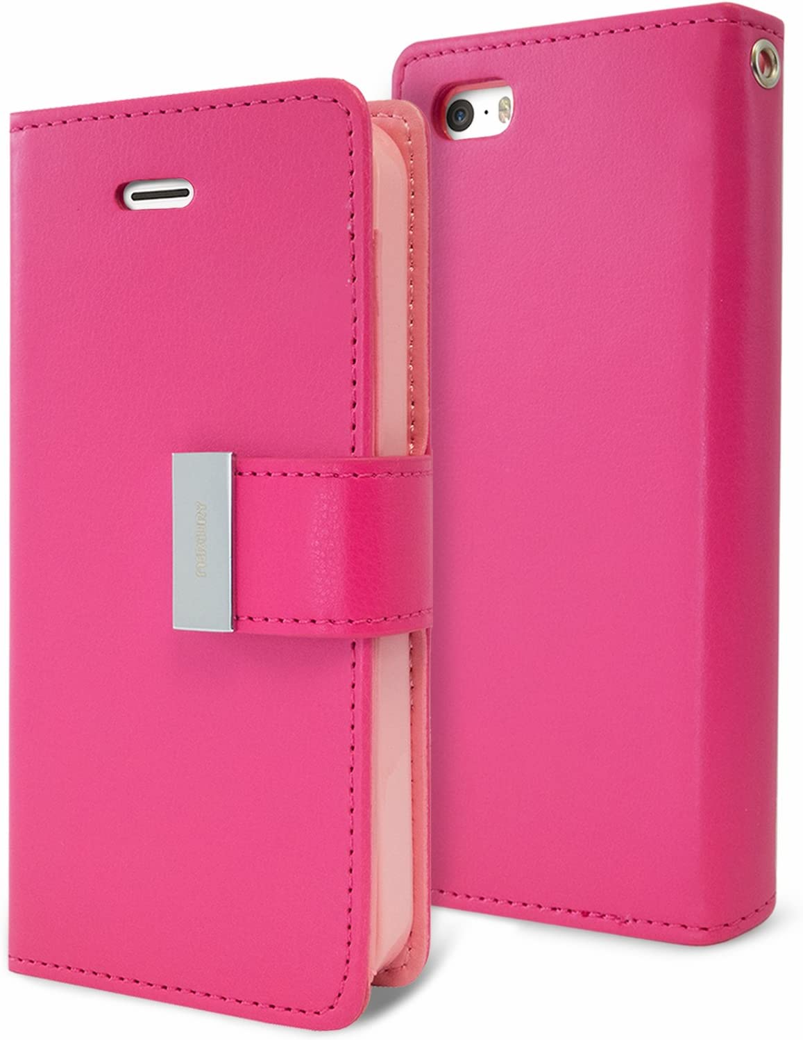 Goospery Rich Wallet for Apple iPhone SE Case (2016) iPhone 5S Case (2013) iPhone 5 Case (2012) Extra Card Slots Leather Flip Cover (Hot Pink) IP5-RIC-HPNK
