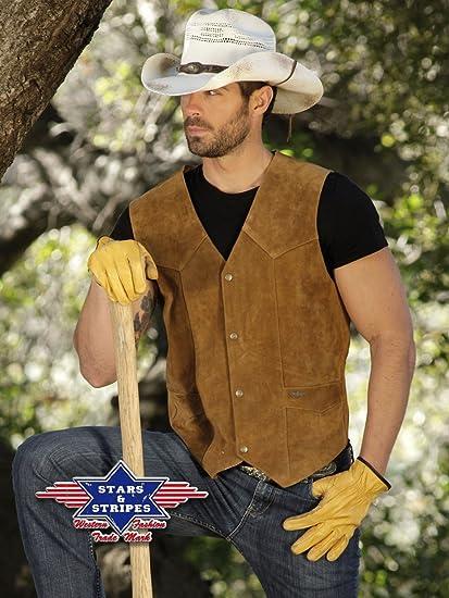 Stars & Stripes Western de piel Chaleco Alabama marrón marrón S: Amazon.es: Ropa y accesorios