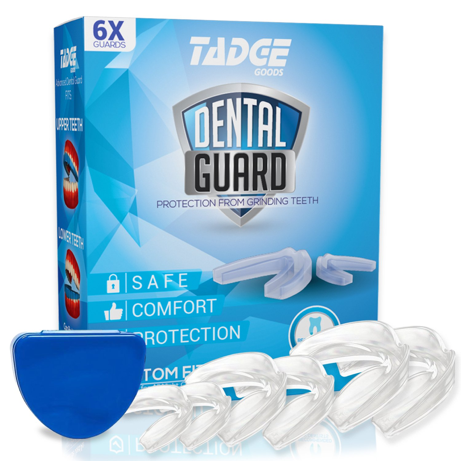 Tadge Goods Night Mouth Guard For Grinding Teeth – Pack of 6 – Bite Guard Helps TMJ, Bruxism, Teeth Clenching | 3 Sizes | Customizable, BPA Free, Includes Fitting Instructions & Anti-Bacterial Case