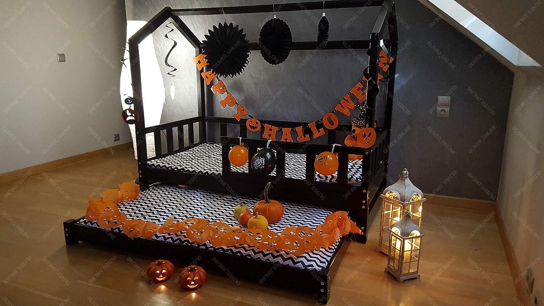 Oliveo Halloween Cama Infantil con Sistema de barreras Dos Camas Estructuras de Cama (120 x 60 cm, Barreras con)