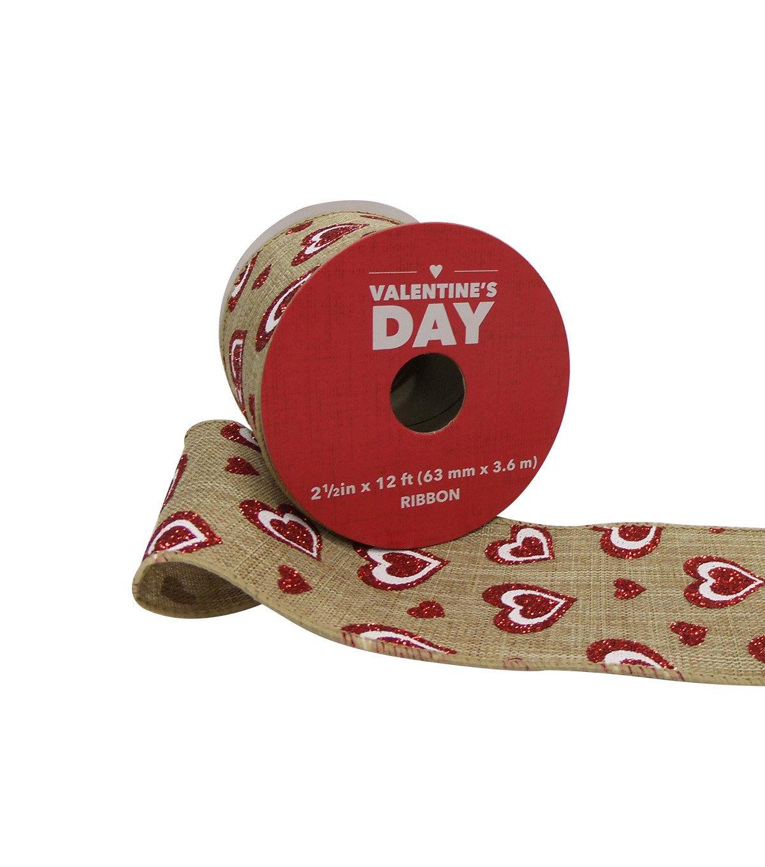 Valentine's Day Natural Ribbon 2.5''x 12' Red Glitter Hearts