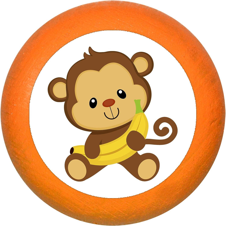 SchrankgriffAffe Banane pink Holz Buche Kinder Kinderzimmer 1 St/ück wilde Tiere Zootiere Dschungeltiere Traum Kind