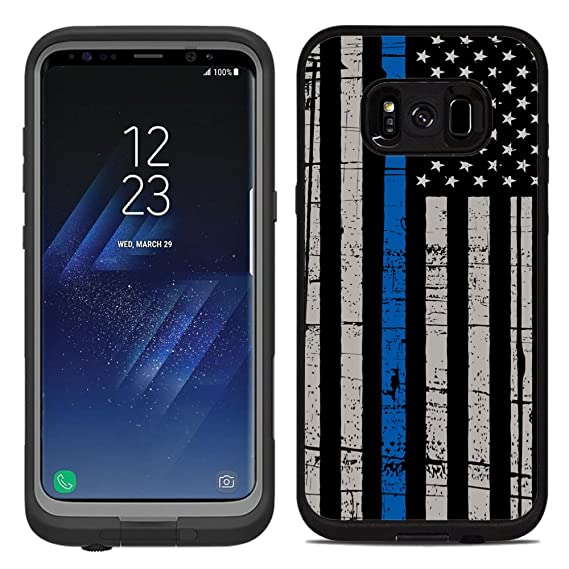 new concept ac95d 593cc Protective Designer Vinyl Skin Decals/Stickers for Lifeproof Fre Samsung  Galaxy S8 Case -Thin Blue Line USA Police Flag Design Patterns - Only Skins  ...