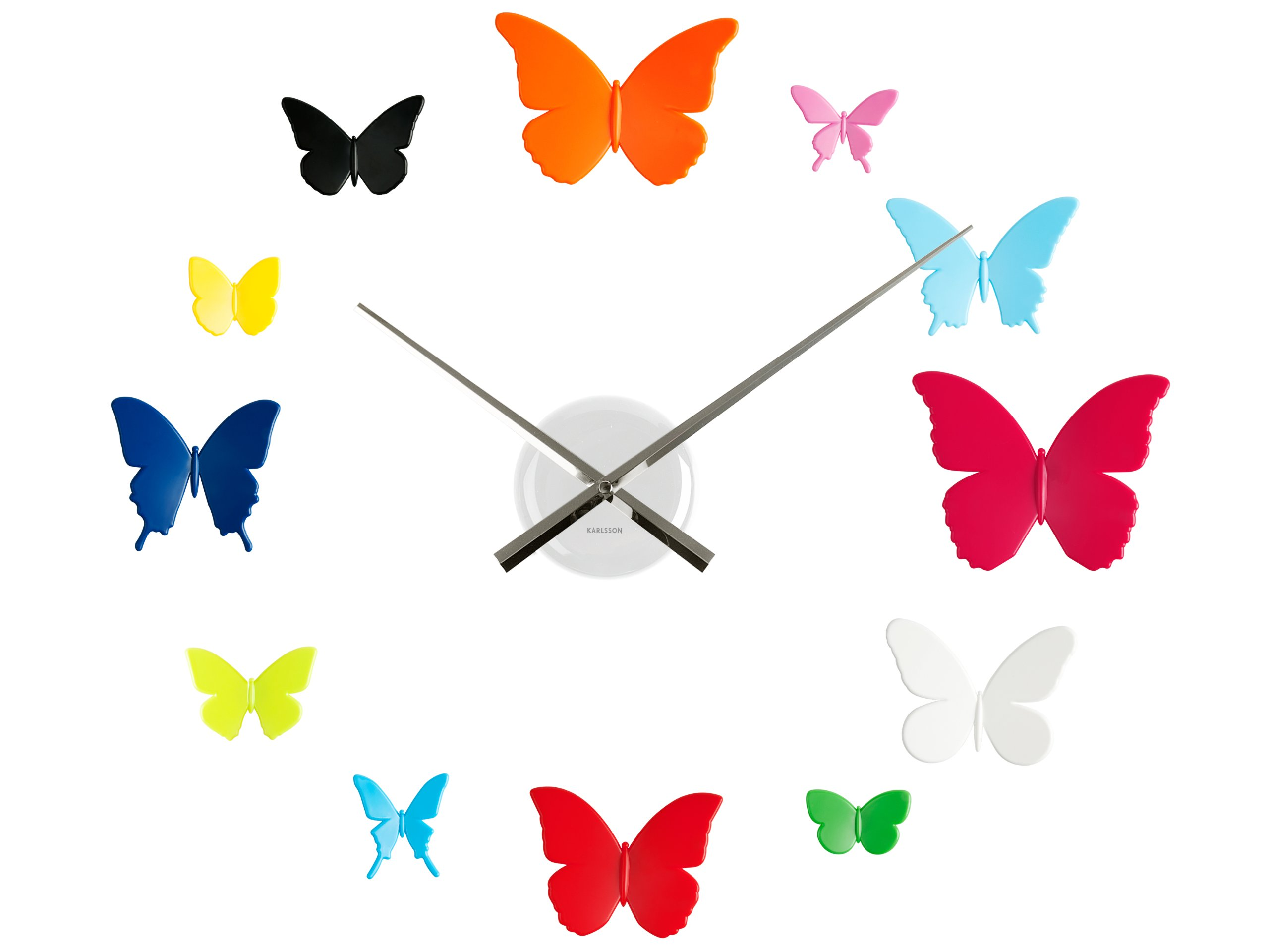 Present Time Karlsson Diy Butterflies Wall Clock, Multi-Color