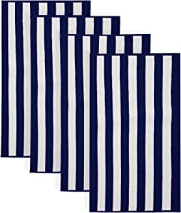 Great Bay Home 100% Cotton Cabana Stripe Beach Towel. Soft Absorbent Quick Dry Towel Set. Diani Collection. (4 Pack, Navy)