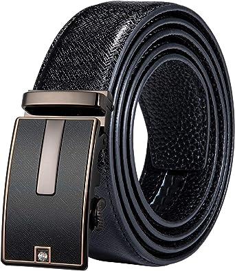 DiBanGu Mens Ratchet Belt,Genuine Leather Slide Click Belt with Removable Buckle,Fashion Business Dress Belt Gift