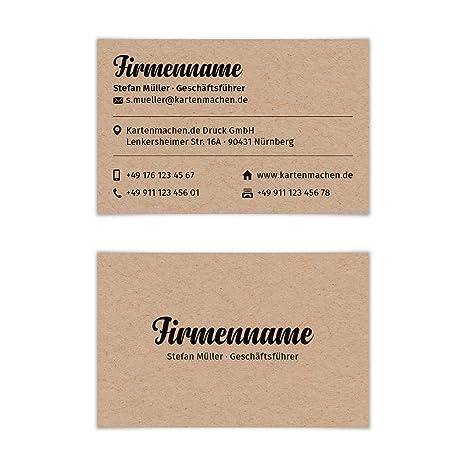 100 X Visitenkarten Individuell Business Karten 300g Qm 85 X 55 Mm Kraftpapier Look