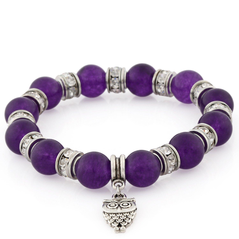 e0b9dd60ac7e Morella pulsera elástica de perlas de piedra con colgante lechuza y piedras  de circonita