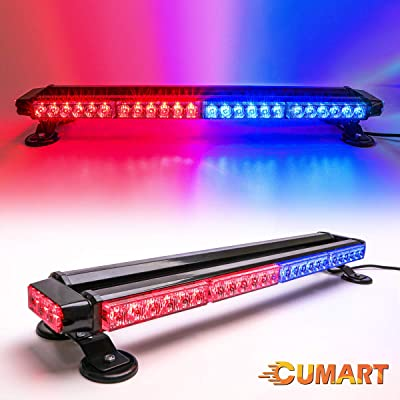 "CUMART 26.5"" Blue Red 54 LED Light Bar Double Side Emergency Warning Flash Strobe Light Traffic Advisor with Magnetic Base: Automotive"