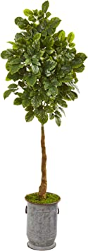 Amazon Com Nearly Natural 6 Beech Leaf Artificial Metal Planter With Copper Trimming Silk Trees Green Furniture Decor