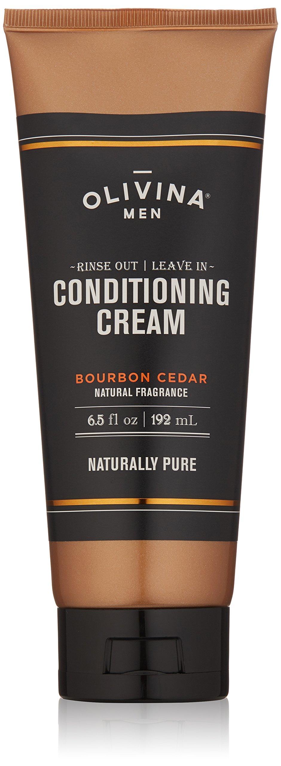 Olivina Men Rinse Out/Leave In Conditioning Cream, Bourbon Cedar, 6.5 fl. oz.
