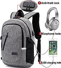 Mochila para portátil, mochila DOXUNGO antirrobo unisex con bloqueo Mochila portátil delgada con puerto de carga USB y puerto para audífonos para mujeres y hombres, para portátil y tableta Ipad de hasta 15.6 pulgadas (Versión mejorada-gris)