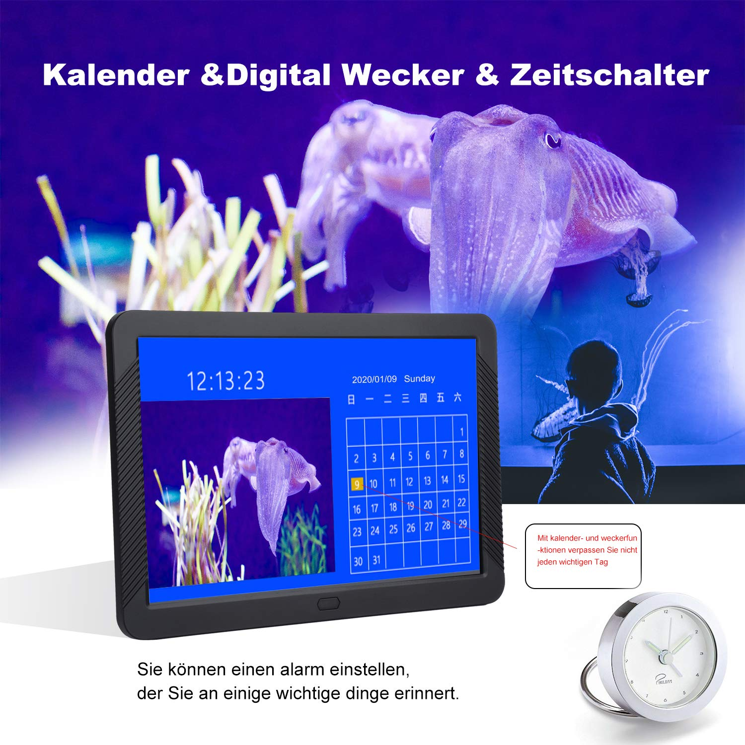 Digitaler Bilderrahmen 8 Zoll 1920 * 1080 Elektronischer Bilderrahmen Cofunkool HD IPS Display mit Foto Video Music Kalender Alarm Auto on/Off Timer unterstützt USB SD-Karte IR-Fernbedienung(Schwarz)