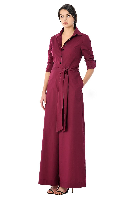 Vintage Overalls 1910s -1950s Pictures and History eShakti Womens Sash Tie Cotton Poplin Palazzo Jumpsuit $49.95 AT vintagedancer.com
