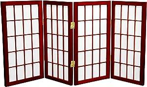 Oriental Furniture 2 ft. Tall Desktop Window Pane Shoji Screen - Rosewood - 4 Panels