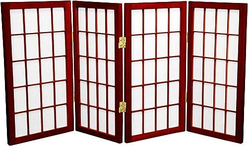Oriental Furniture 2 ft. Tall Desktop Window Pane Shoji Screen – Rosewood – 4 Panels