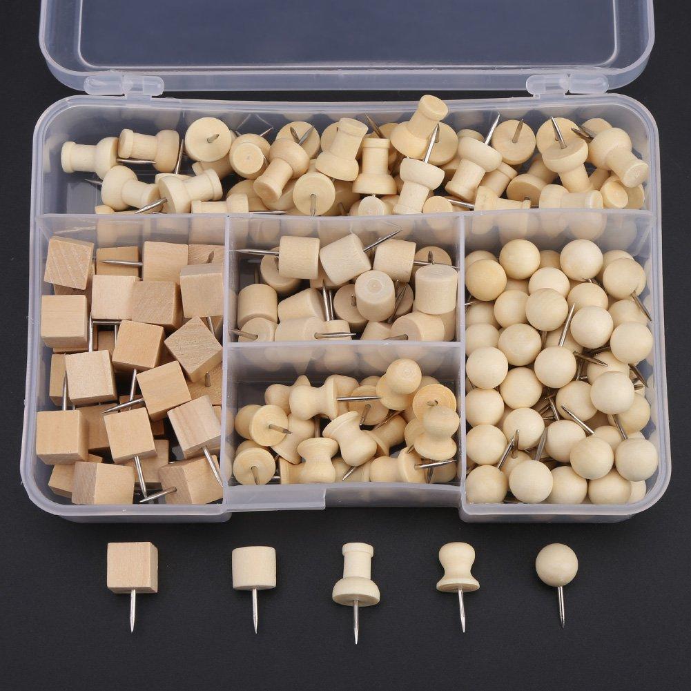 Push Pins, Nautral Wooden Pushpin Map Push Pins Thumb Tacks for Map Marking, DIY, Arts and Crafts Project – 180pcs Walfront