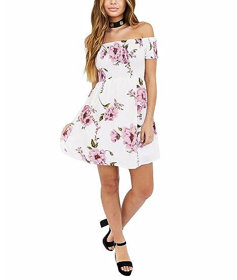 Vestido de mujer, Lananas 2018 Mujeres Vestido de verano Elástico Fuera del hombro Rosa floral playa Casual Vestido mini blanco corto Para la fiesta ...
