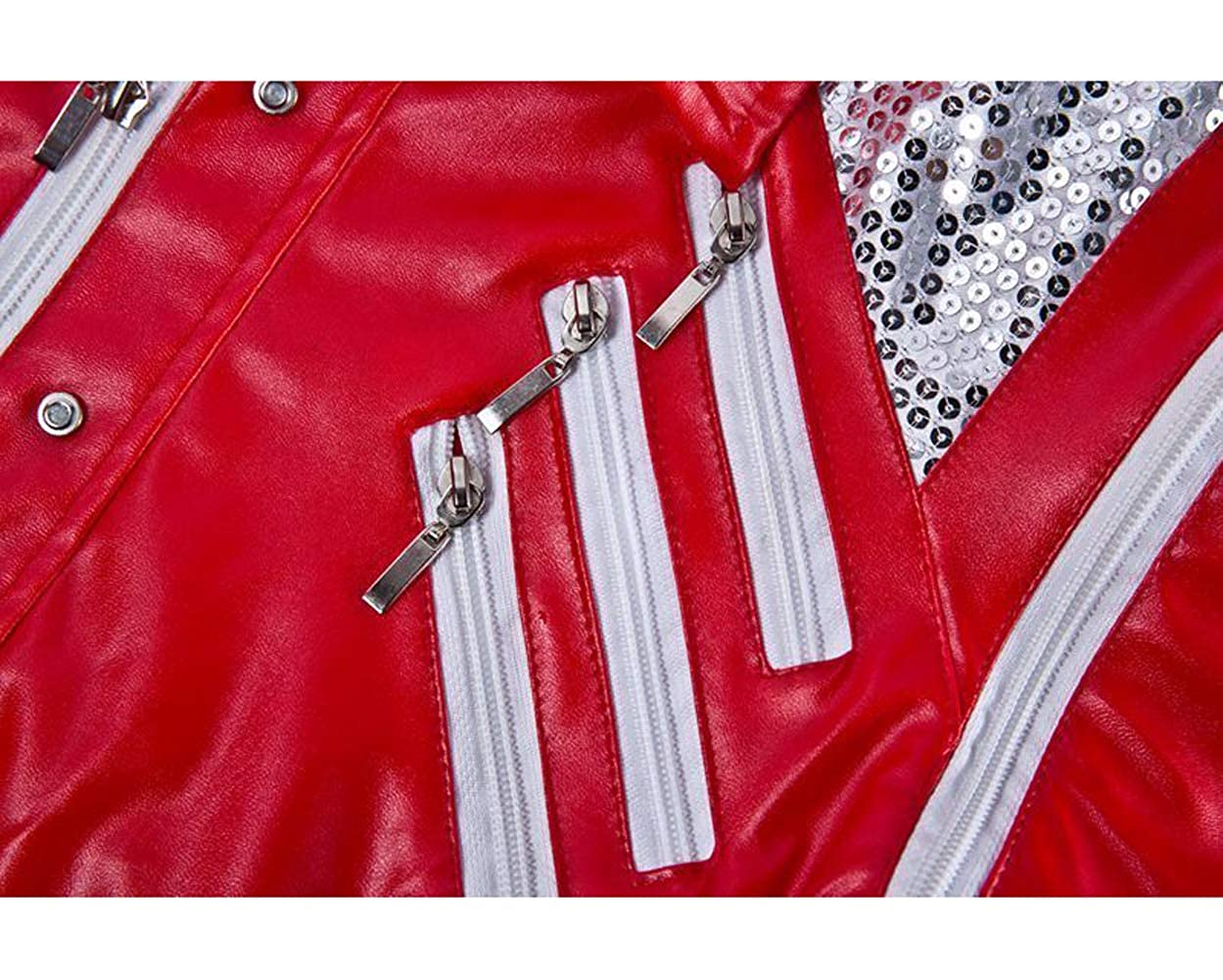RED Costume Biker Leather Jacket Cosplay for Michael Jackson Leather Jacket Beat it Jacket