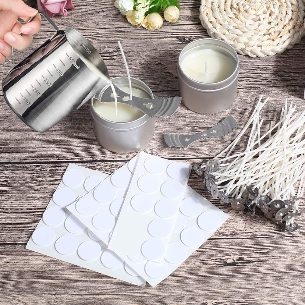 herramientas para manualidades con 1 maceta para hacer velas Kit para hacer velas 2 soportes de mechas y 2 tarros de metal 100 pegatinas de mechas 50 mechas de vela