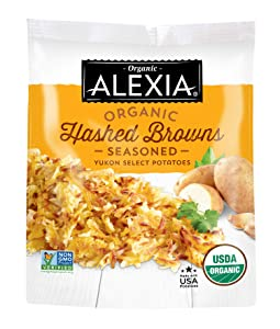 Alexia Organic Hashed Browns Seasoned Yukon Select Potatoes, Non-GMO Ingredients, 16 oz (Frozen)