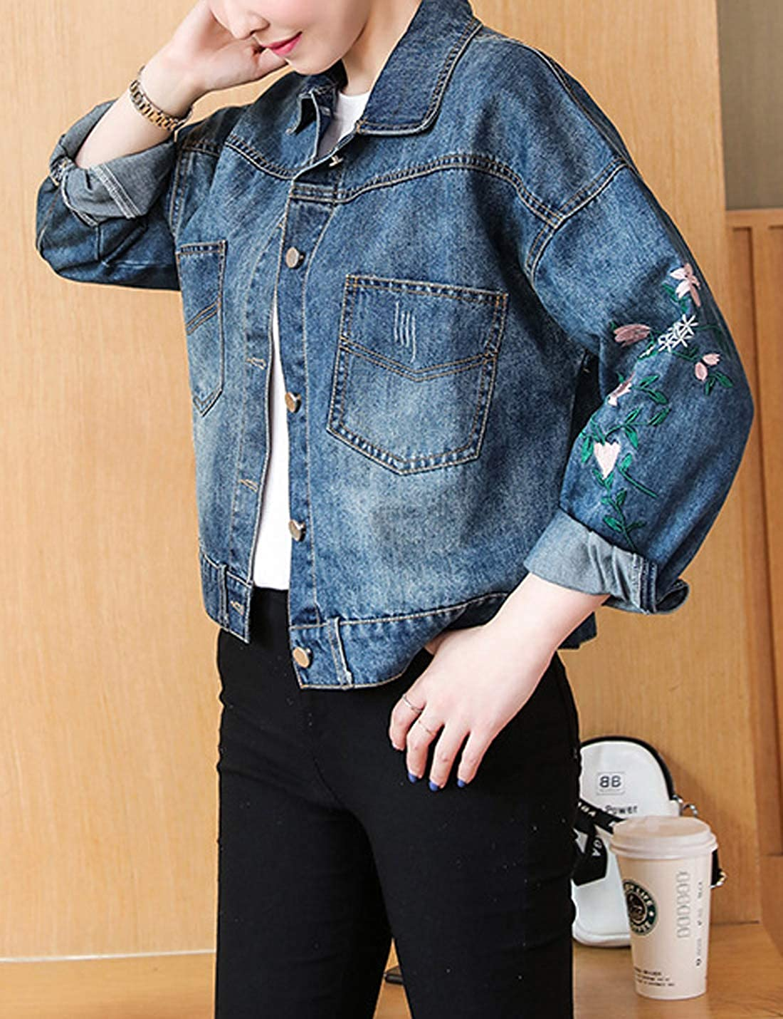 Omoone Womens Oversized Floral Embroidery Cropped Denim Jean Trucker Jacket