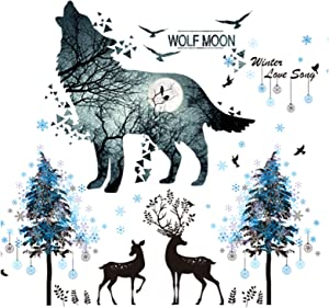 Amoda 3D Blue Snowflake Deer & Ink Wolf Moon Room Decor Wall Stickers Wallpaper Self-Adhesive Removable Wall Mural Decals for Kids Bedroom Ceiling Living Room