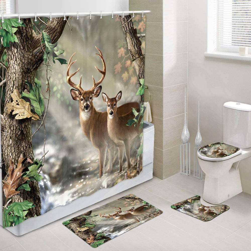 JAWO Deer Decor Shower Curtain and Bath Mat Set 9x9 Inch, Elk Foggy  Forest Bathroom Curtain with Hooks, Bathroom Mat Set with Contour Rug, Bath  Mat