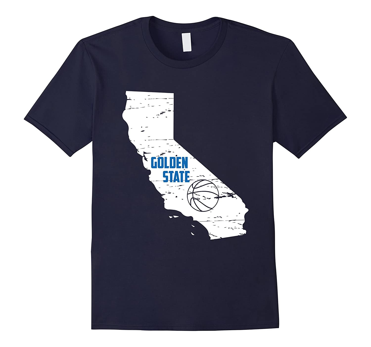 Golden State California Distressed Basketball T-Shirt-FL
