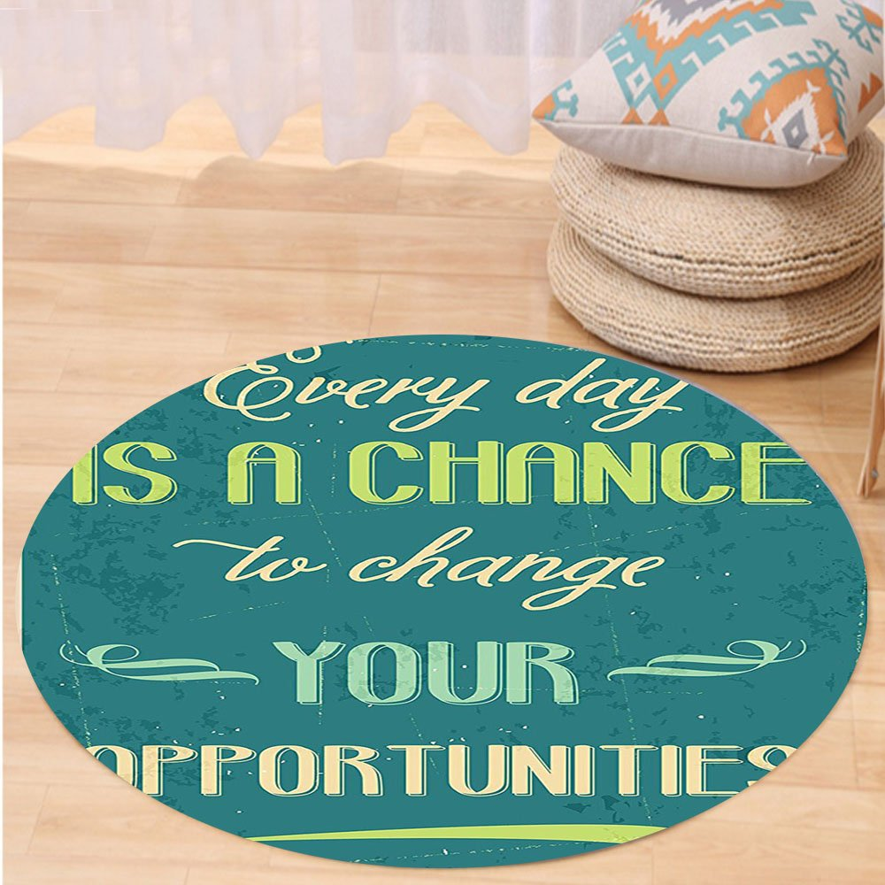 VROSELV Custom carpetLifestyle Every Day is a Chance to Change Your Opportunities Quote Retro Poster Print for Bedroom Living Room Dorm Jade Green Tan Round 72 inches by VROSELV